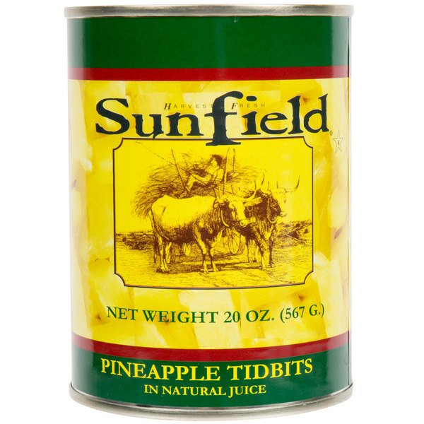 Sunfield Pineapple Tidbits in Natural Juice 20 oz